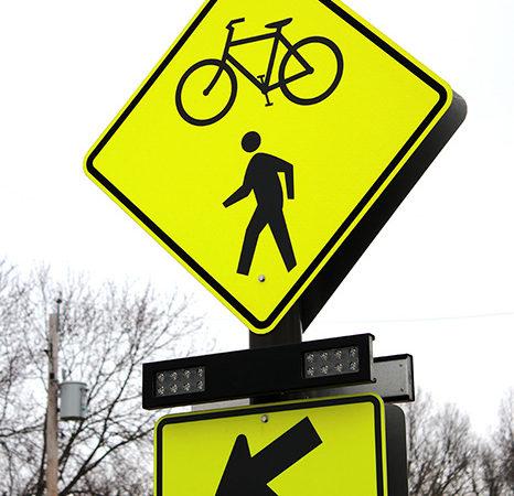 pedestrian safety sign in Ohio