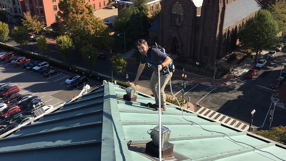 LJB's Hunter Meadors performing fall protection inspection