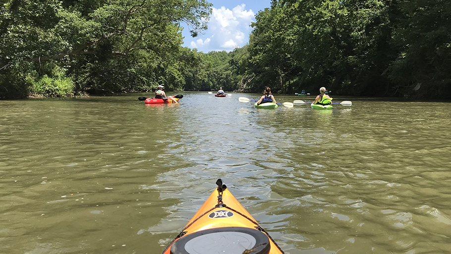 LJB's NC team kayaking for employee well-being